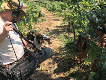 Michal recording old Indian tribes in Amazonia